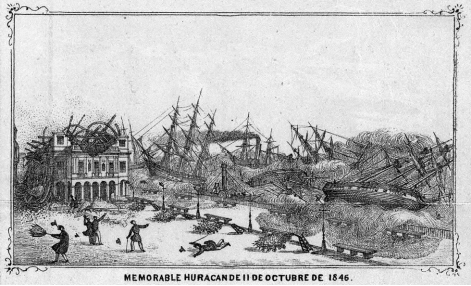 An engraving showing devastation wrought on Havana by the Great Havana Hurricane of 1846. (Key West Historical Association)
