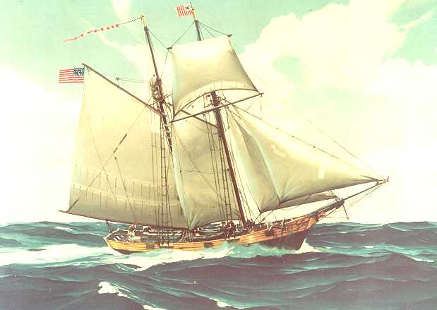 Illustration of a typical revenue cutter in the early days of the Revenue Cutter Service. (U.S. Coast Guard Collection)