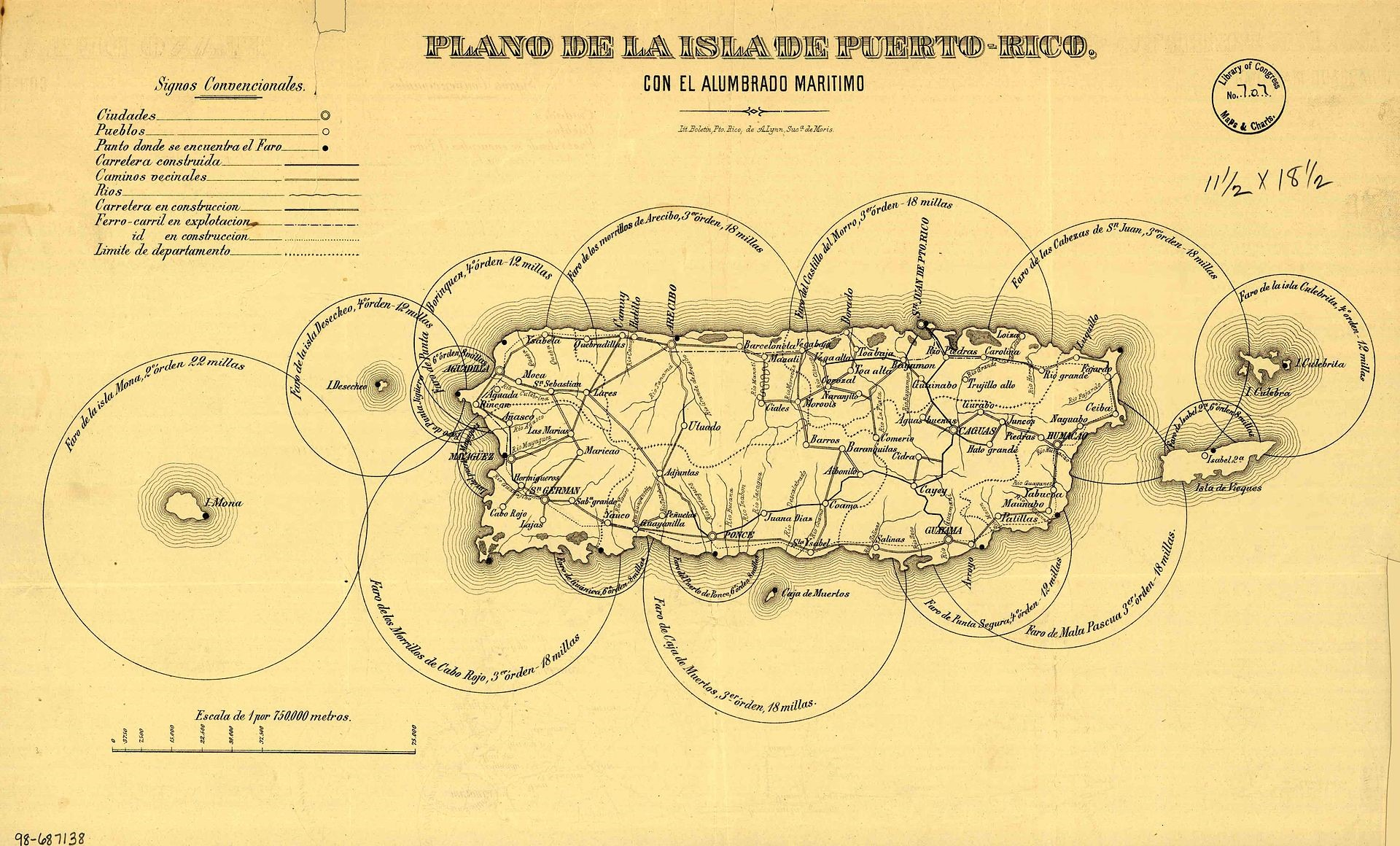 Map showing Puerto Rico's maritime lighthouse and road plans map circa 1885. (Wikipedia)