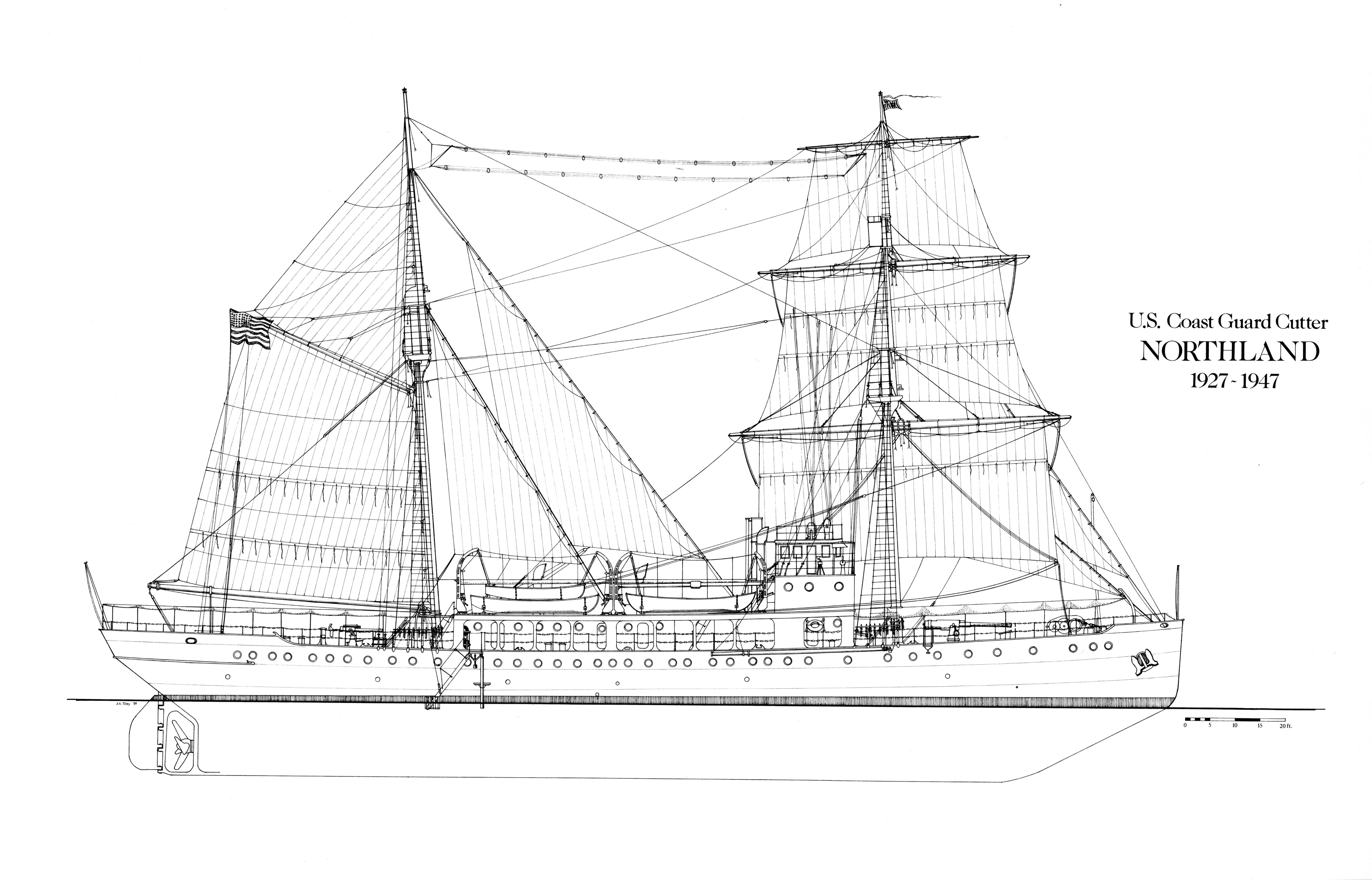 2.Profile view of the Northland with sail rig drawn by Dr. John Tilley. (U.S. Coast Guard)