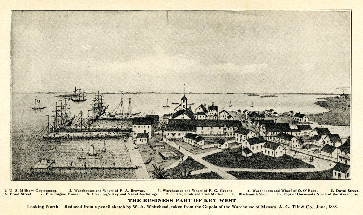 "Engraving of Key West looking to the north toward the harbor and commercial center in 1838. [From ""Key West: The Old and the New"" (Browne, 1912)]"