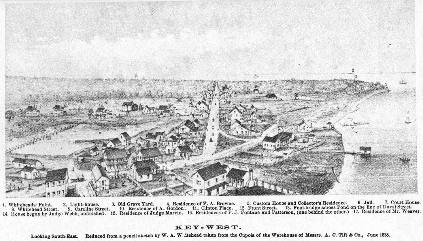 "Second engraving of Key West in 1838 facing south, showing homes and the city's first lighthouse kept by Michael Mabrity and, after his death, by Barbara Mabrity. [From ""Key West: The Old and the New"" (Browne, 1912)]"