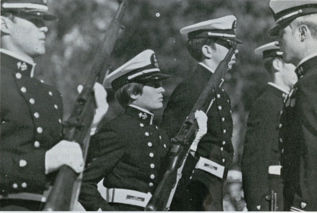 Cadet Mary Jane East in dress uniform during rifle inspection on the Academy parade grounds. (U.S. Coast Guard Photo)