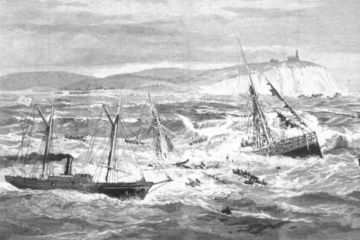 Painting of the Revenue Cutter Bear rescuing whalers adrift in the Bering Sea. (U.S. Coast Guard Collection)