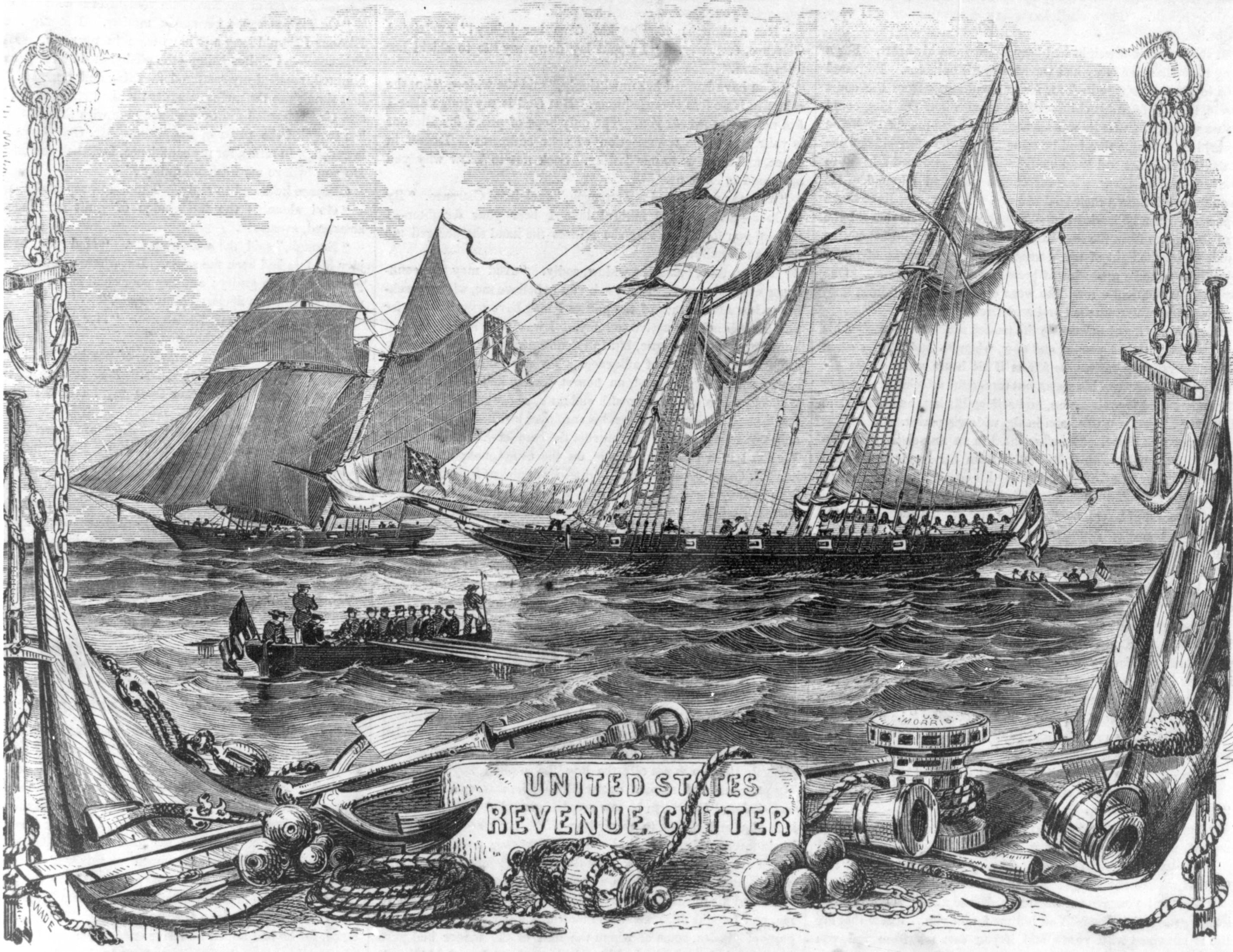Engraving showing the Revenue Cutter Morris before her loss in the 1846 hurricane. (Source of engraving unknown)