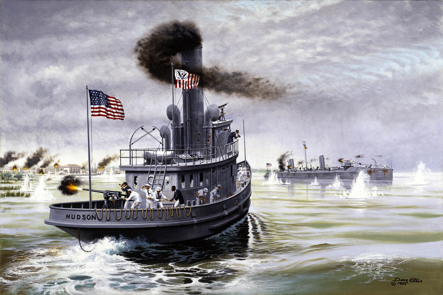 Painting of the Revenue Cutter Hudson steaming to the rescue of the torpedo boat USS Winslow in the Battle of Cardenas Bay, Cuba, 1898. (U.S. Coast Guard Collection)