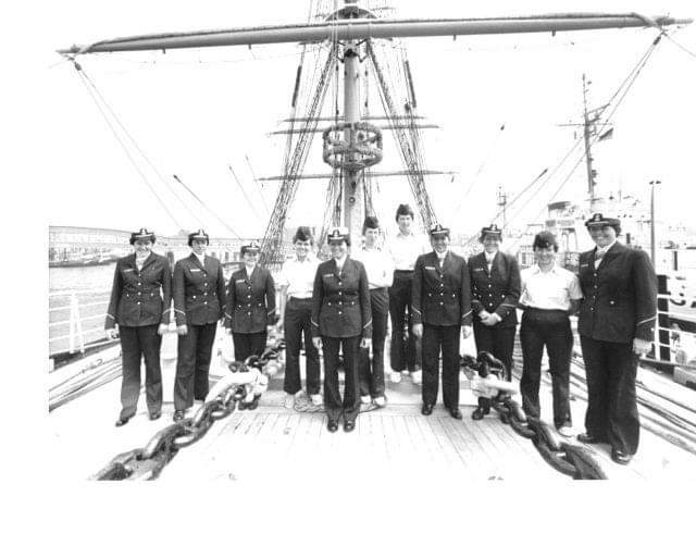 Female cadets on board the Eagle during the summer cruise to Europe. (U.S. Coast Guard Photo)