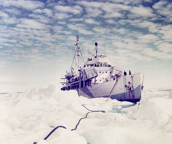 6. Rare color photograph of Arctic cutter Northland in her element--sea ice. (U.S. Coast Guard)
