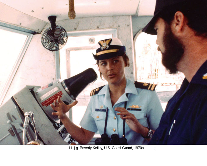 Lt. j.g. Beverly Kelley, first woman to command a U.S. military vessel, on the bridge of the 95-foot cutter Cape Newhagen.