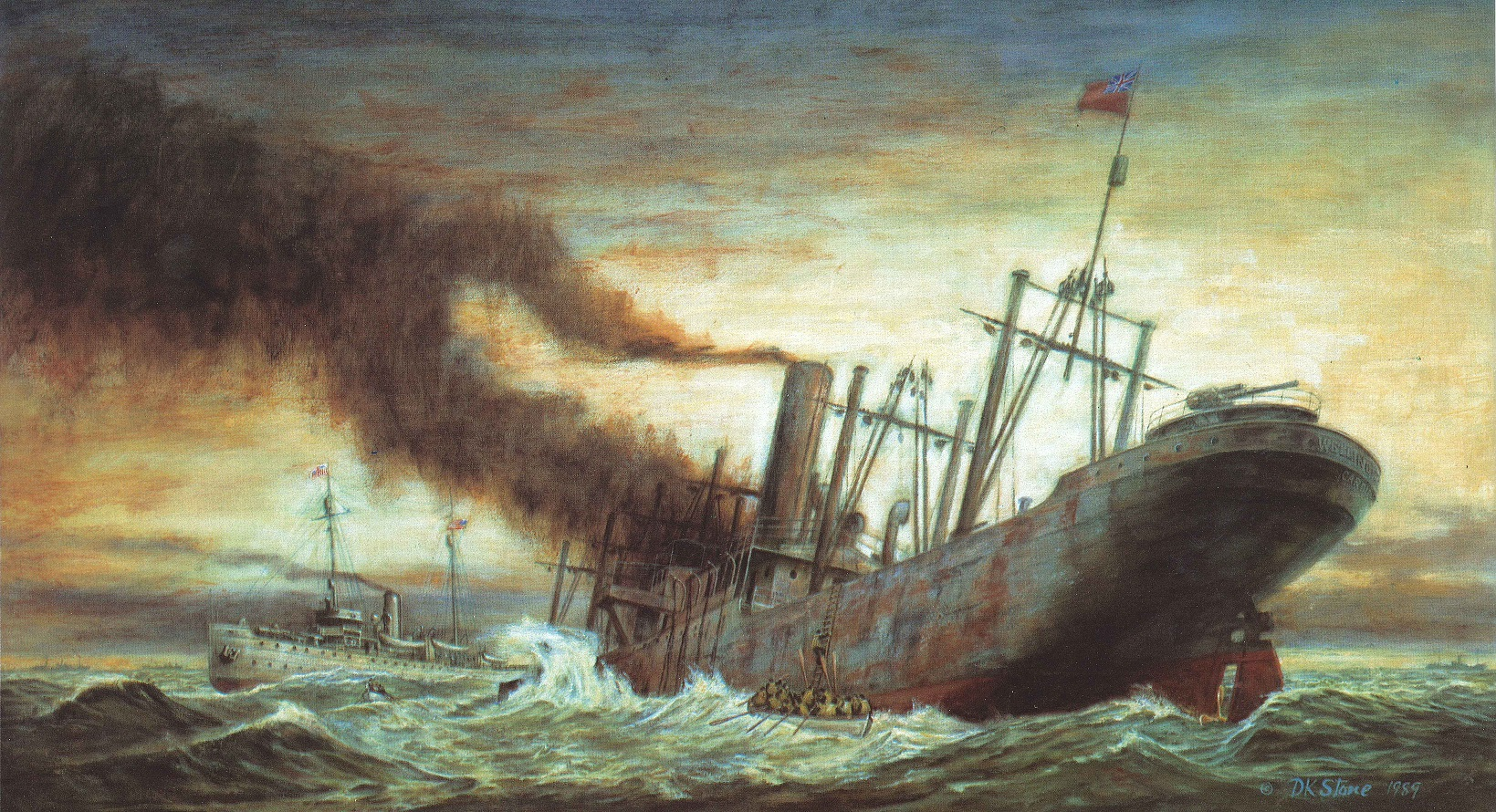 Painting of the Revenue Cutter Snohomish rescuing the lumber steamer Nika in heavy seas off the Washington Coast. (U.S. Coast Guard Collection)