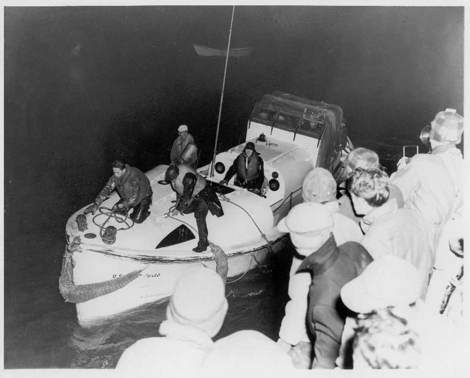"Return of Bernard Webber's motor lifeboat CG-36500 from his famous rescue dramatized in the feature film ""The Finest Hours."" (U.S. Coast Guard Collection)"