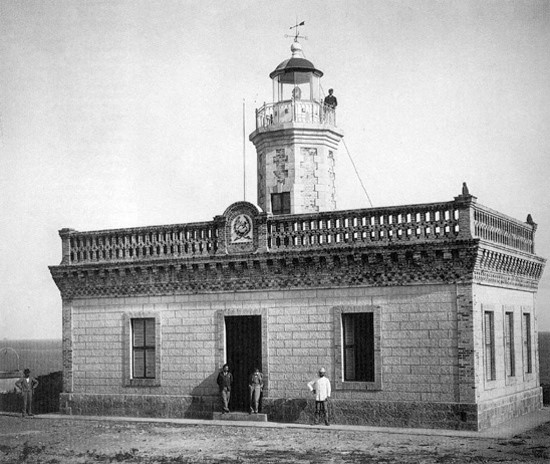 "View from the north of Guanica Lighthouse in 1897. At the center is located the seal of the ""Real Cuerpo de Ingenieros de Caminos"" or Spanish Royal Roads Engineer Corps. (Library of Congress)"