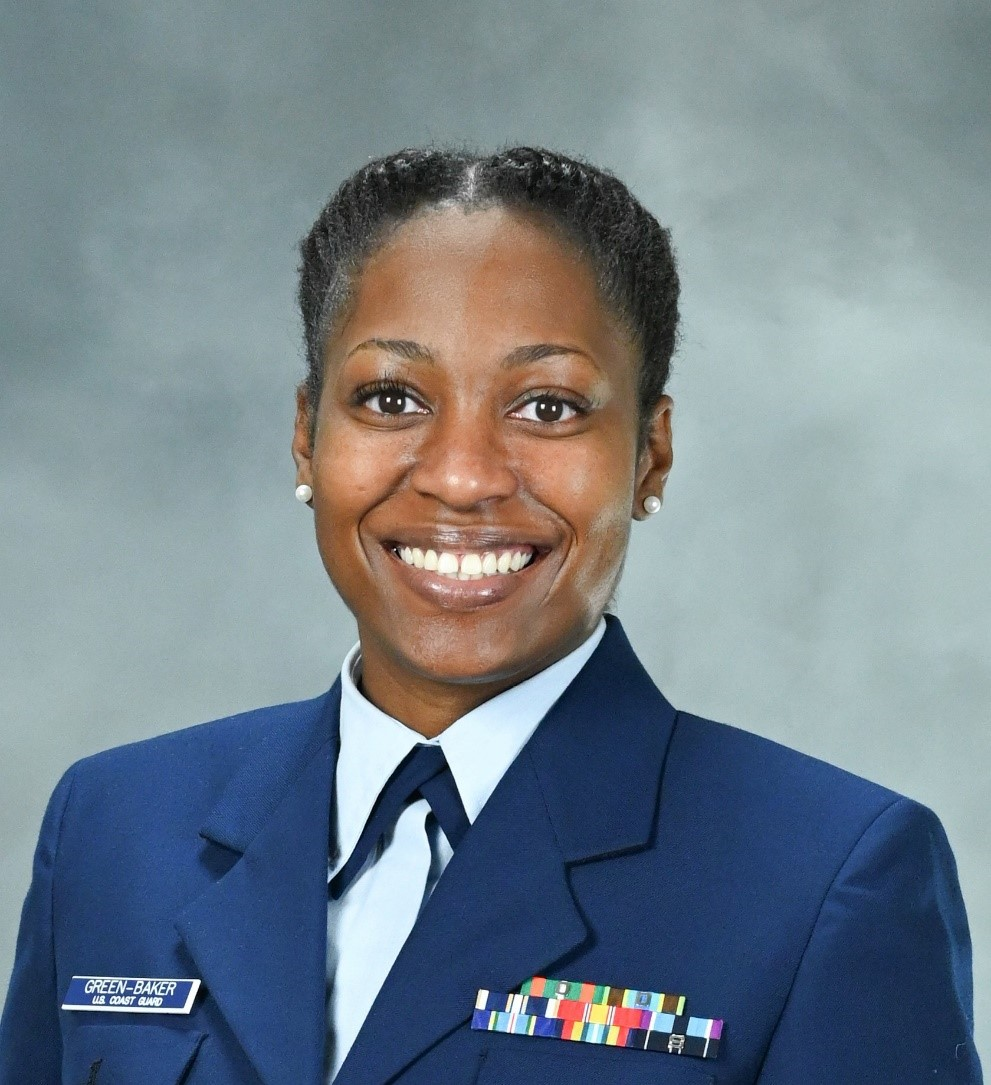 Lt. Tanesha Green-Baker, winner of the 2020 Blacks in Government Military Meritorious Service Award for her unwavering dedication to the Coast Guard's mission and passion for equality among the Coast Guard's ranks.