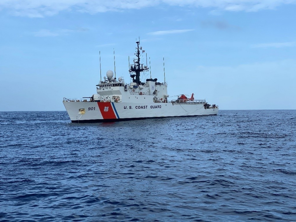 The U.S. Coast Guard Cutter Bear, a 270-foot medium endurance cutter, transits the Atlantic Ocean off the west coast of Africa. During its deployment, Bear's teams strengthened the Coast Guard's partnership with Cabo Verde and trained in countering illicit maritime activity, including counter-narcotics and illegal, unregulated, and unreported fishing. (U.S. Coast Guard Photo by Ensign Connor Brown)