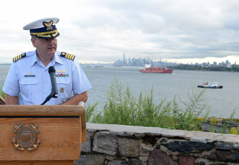 NEW YORK – Capt. Michael Day, commander, Coast Guard Sector New York, gives remarks during a 9/11 observance ceremony held at Fort Wadsworth on Staten Island, New York, Friday, Sept. 11, 2015. Sector New York personnel stood in formation for morning colors and the ceremony, which honored the fallen on that fateful day. (U.S. Coast Guard Photo by Petty Officer 3rd Class Ali Flockerzi.)