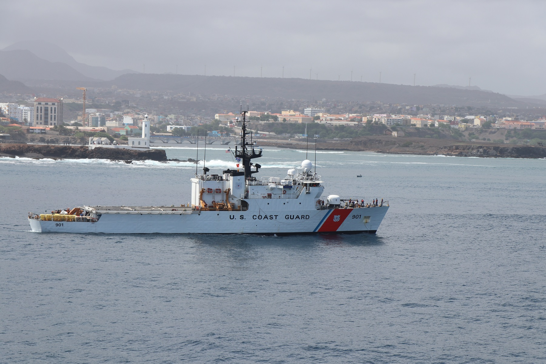 CGC BEAR off the coast of Praia, during the crew's most recent deployment to Africa.