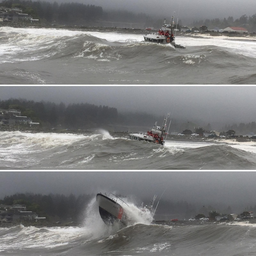Petty Officer 1st Class Raymond Aguilar (surfman #557), a boatswain's mate at Station Yaquina Bay trains in surf conditions near Newport, Oregon, Feb. 15, 2019. Coast Guard surfman are qualified to operate a 47-foot motor lifeboat in 20-foot breaking surf, 30-foot seas and 50-knot winds. (U.S. Coast Guard illustration by Petty Officer 1st Class Raymond Aguilar)