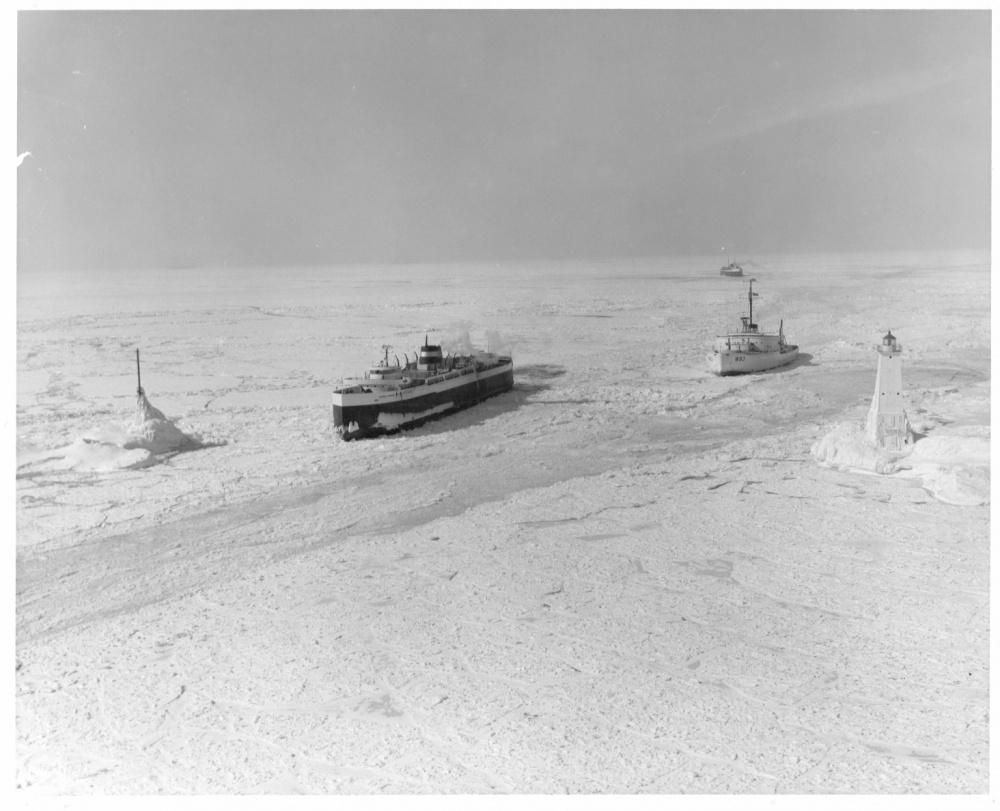 Coast Guard Cutter Mackinaw on duty freeing Great Lakes car ferries trapped in the ice. (U.S. Coast Guard Photo)