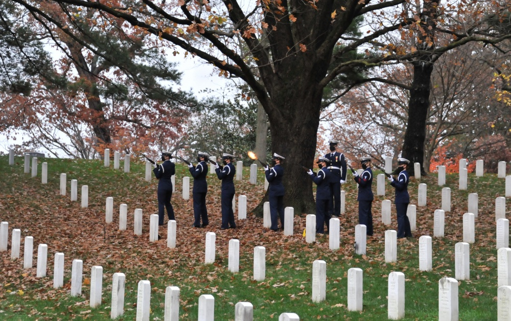 An all-female firing party of the U.S. Coast Guard Ceremonial Honor Guard fires a three-volley gun salute during Capt. Eleanor L'Ecuyer's full military honors burial at Arlington National Cemetery, Virginia, Nov. 12, 2020. L'Ecuyer was one the first female direct commissioned officers in the Coast Guard and was helped to pave the way for women in the Coast Guard today. (U.S. Coast Guard Photo by Petty Officer 2nd Class Brian McCrum)